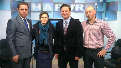 Albania pro-life leader Dr. Gjoni with HLI's Joannes Bucher (third from left) at a recent televised interview in Albania.