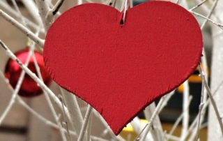 wooden red heart ornament on bare tree