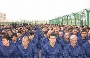 Uighur men's population control camp in China