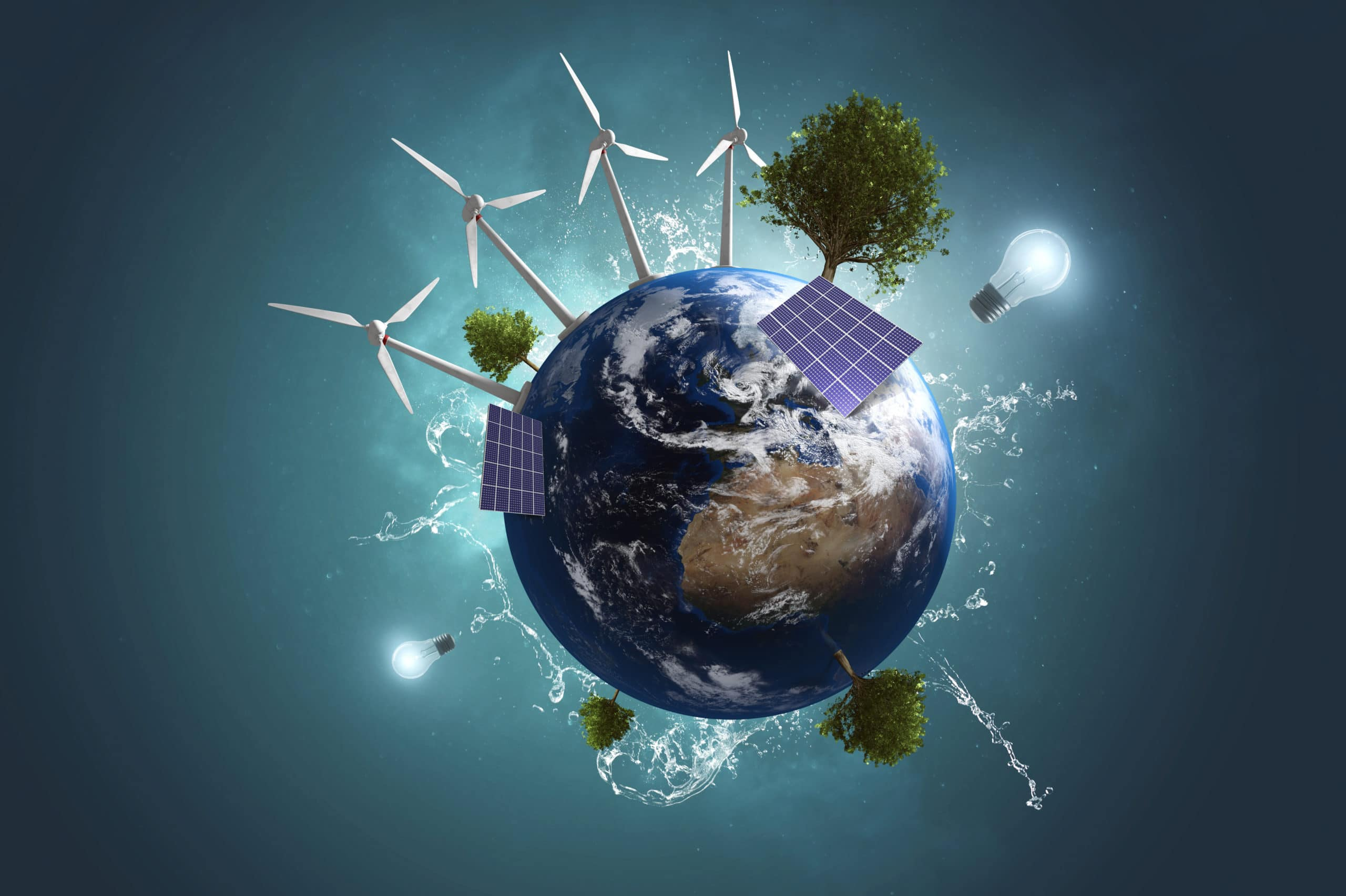 Green solar energy over the whole world - environmentalism
